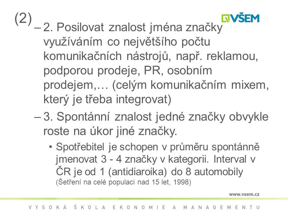 (2) –2. Posilovat znalost jména značky využíváním co největšího počtu komunikačních nástrojů, např.