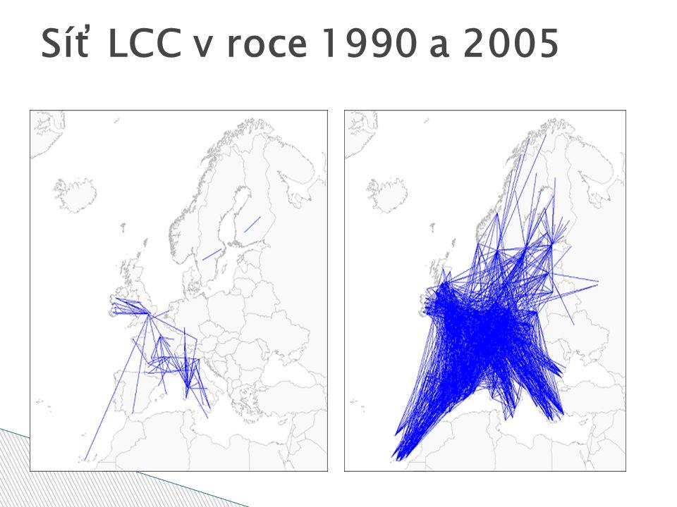 Síť LCC v roce 1990 a 2005