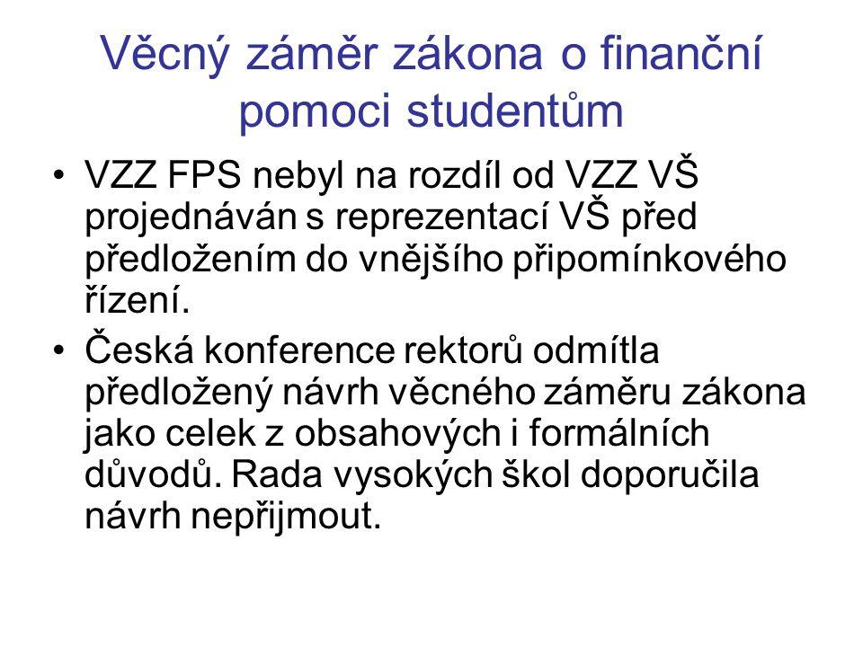 Věcný záměr zákona o finanční pomoci studentům VZZ FPS zahrnuje tato řešená témata: spoření na vzdělání, půjčky na školné, půjčky na životní náklady studentů, veřejnoprávní podpora studentů, soukromoprávní podpora studentů.