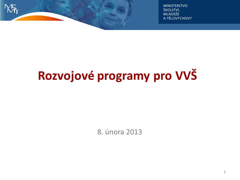 Rozvojové programy VVŠ Rozvojové programy 2012 Požadavky vysokých škol v centralizovaných projektech → finanční prostředky celkem – 771 063 tis.