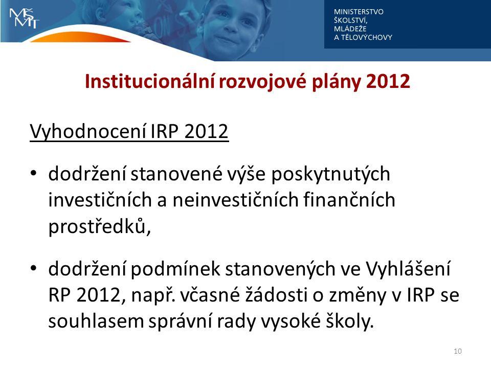 Institucionální rozvojové plány 2012 Vyhodnocení IRP 2012 dodržení stanovené výše poskytnutých investičních a neinvestičních finančních prostředků, do