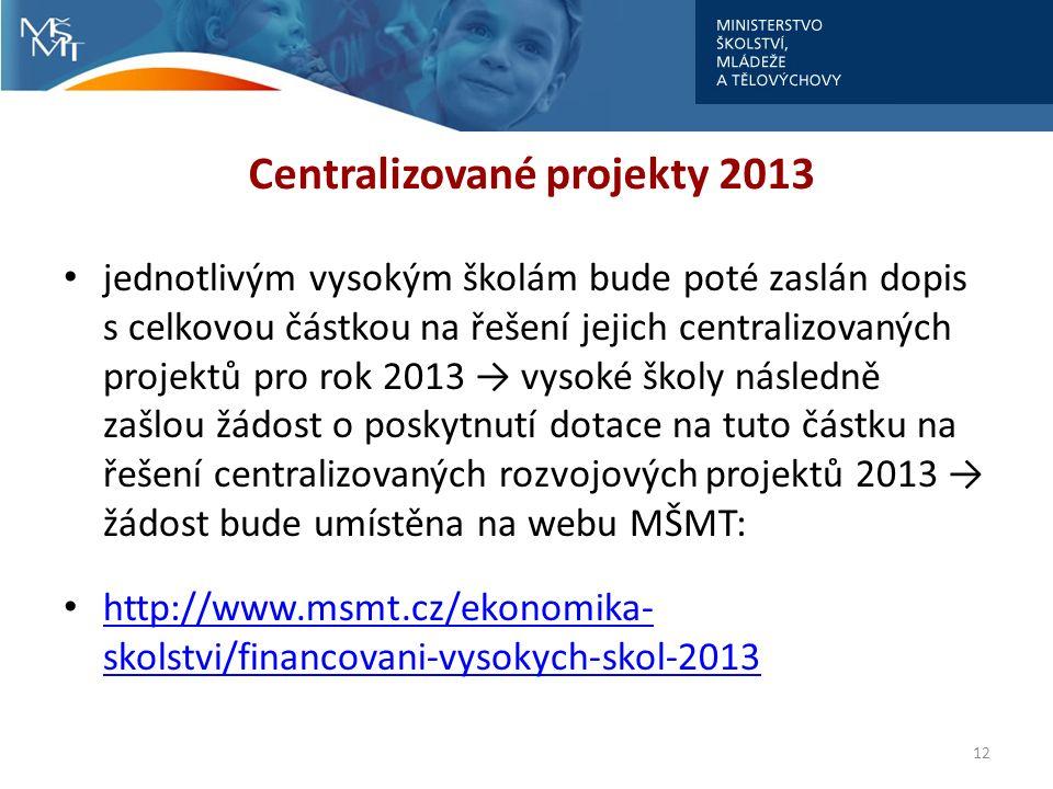 Centralizované projekty 2013 jednotlivým vysokým školám bude poté zaslán dopis s celkovou částkou na řešení jejich centralizovaných projektů pro rok 2
