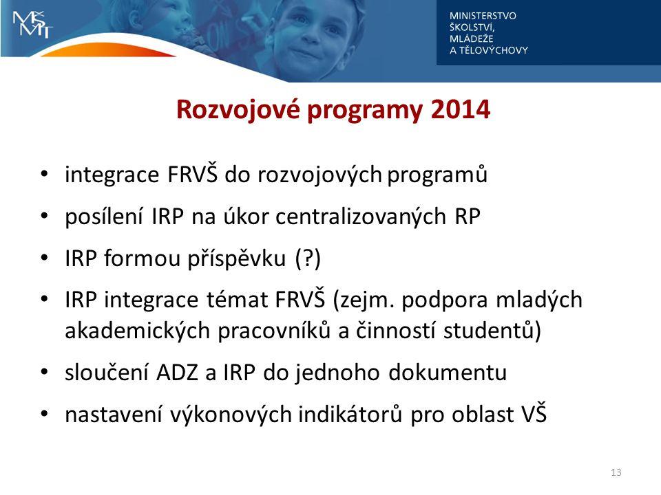 Rozvojové programy 2014 integrace FRVŠ do rozvojových programů posílení IRP na úkor centralizovaných RP IRP formou příspěvku (?) IRP integrace témat F