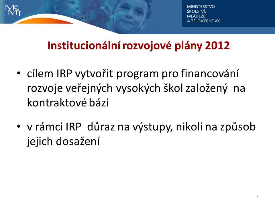 Institucionální rozvojové plány 2012 IRP by měl tvořit jeden celek → jeden plán, který chce vysoká škola realizovat indikátory reprezentující celou vysokou školu ukázala se nevýhoda příliš specifických indikátorů, jejichž naplnění může být velmi závislé na jednotlivcích působících na VŠ 6