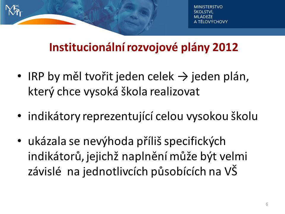 Institucionální rozvojové plány 2012 IRP by měl tvořit jeden celek → jeden plán, který chce vysoká škola realizovat indikátory reprezentující celou vy