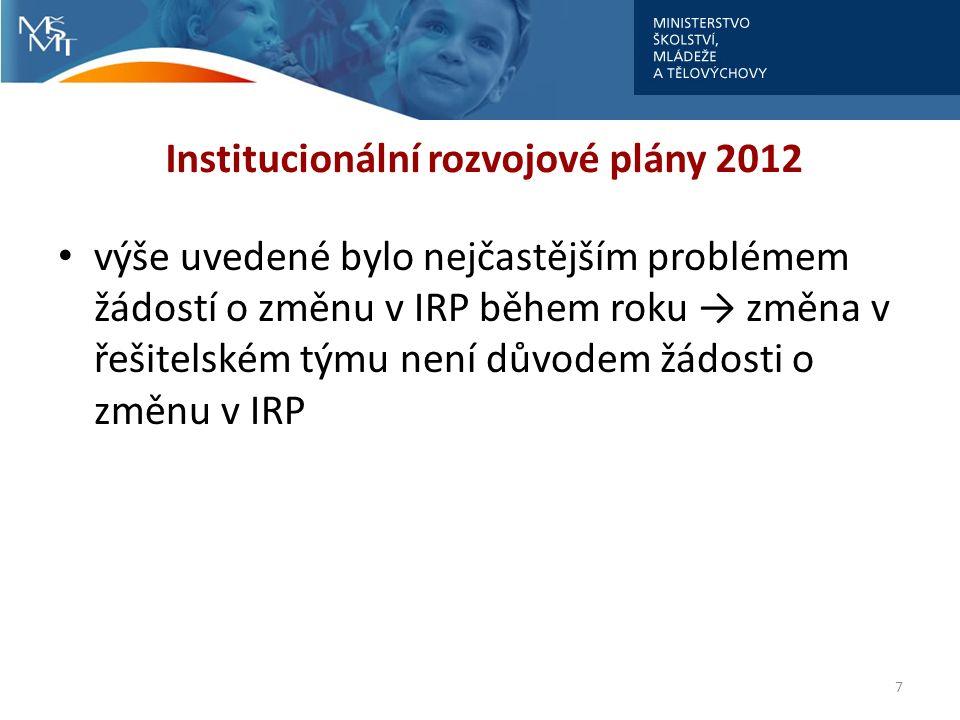 Institucionální rozvojové plány 2012 výše uvedené bylo nejčastějším problémem žádostí o změnu v IRP během roku → změna v řešitelském týmu není důvodem