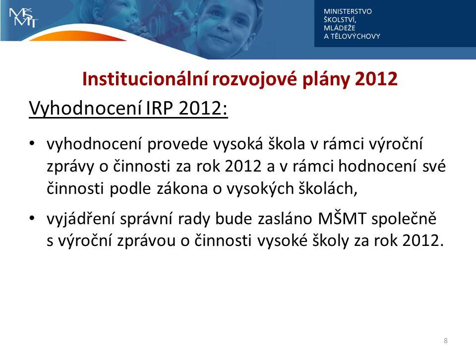 Institucionální rozvojové plány 2012 Vyhodnocení IRP 2012: soulad IRP s DZ a ADZ vysoké školy pro rok 2012, dosažení cílů/stanovených indikátorů za rok 2012; porovnání výchozích a cílových hodnot příslušných ukazatelů výkonu, zhodnocení způsobu/aktivity vedoucí k jejich dosažení 9