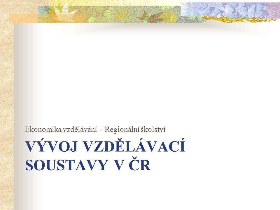 VÝVOJ VZDĚLÁVACÍ SOUSTAVY V ČR Ekonomika vzdělávání - Regionální školství