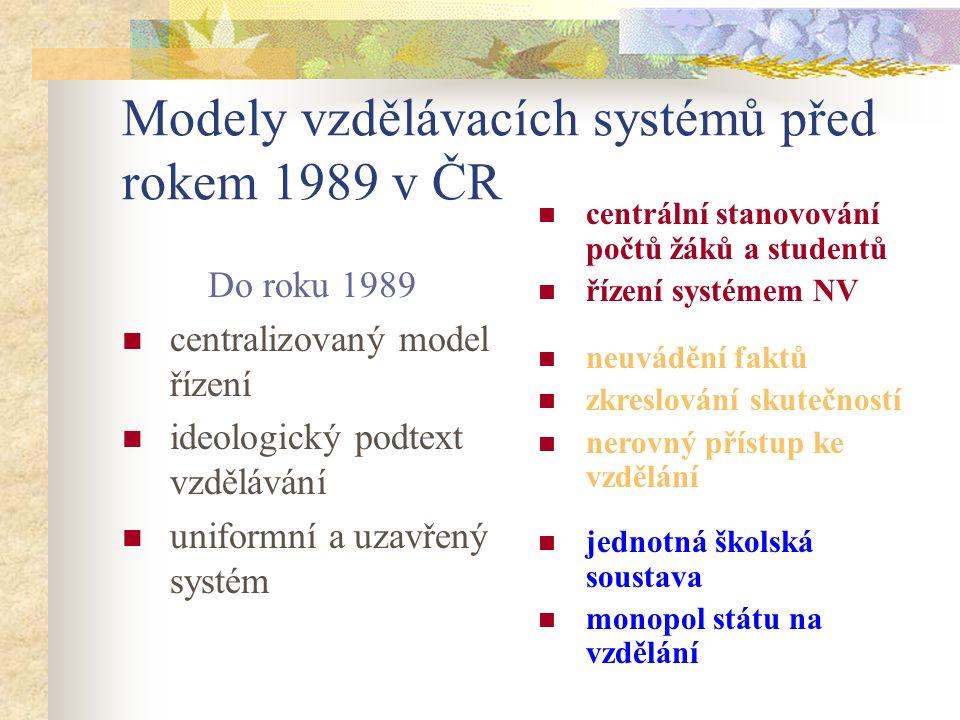 Modely vzdělávacích systémů před rokem 1989 v ČR Do roku 1989 centralizovaný model řízení ideologický podtext vzdělávání uniformní a uzavřený systém c