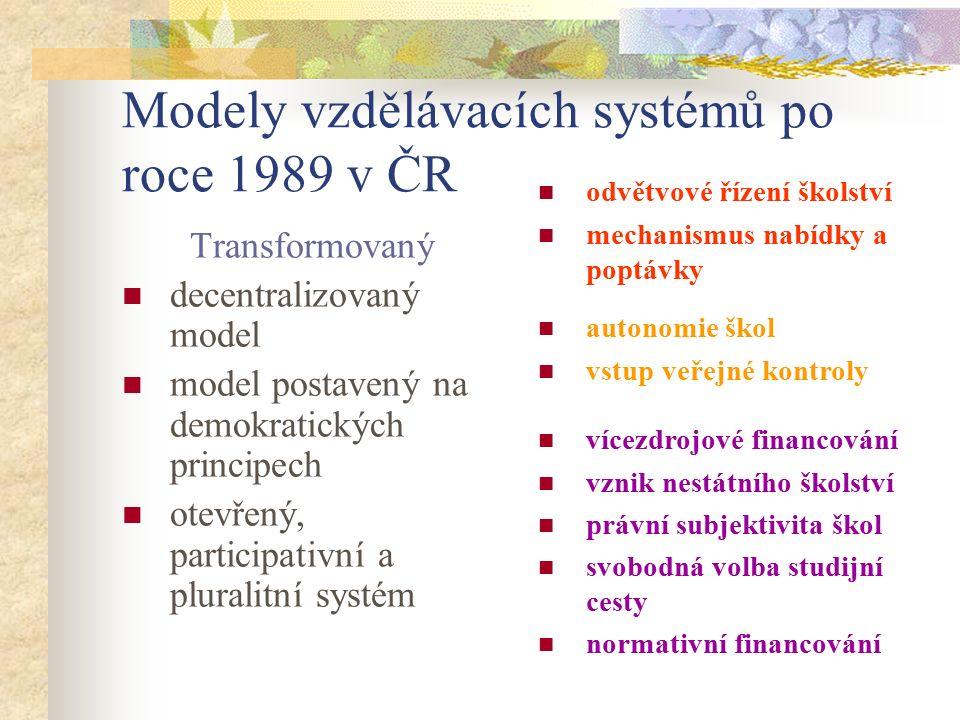 Modely vzdělávacích systémů po roce 1989 v ČR odvětvové řízení školství mechanismus nabídky a poptávky Transformovaný decentralizovaný model model pos