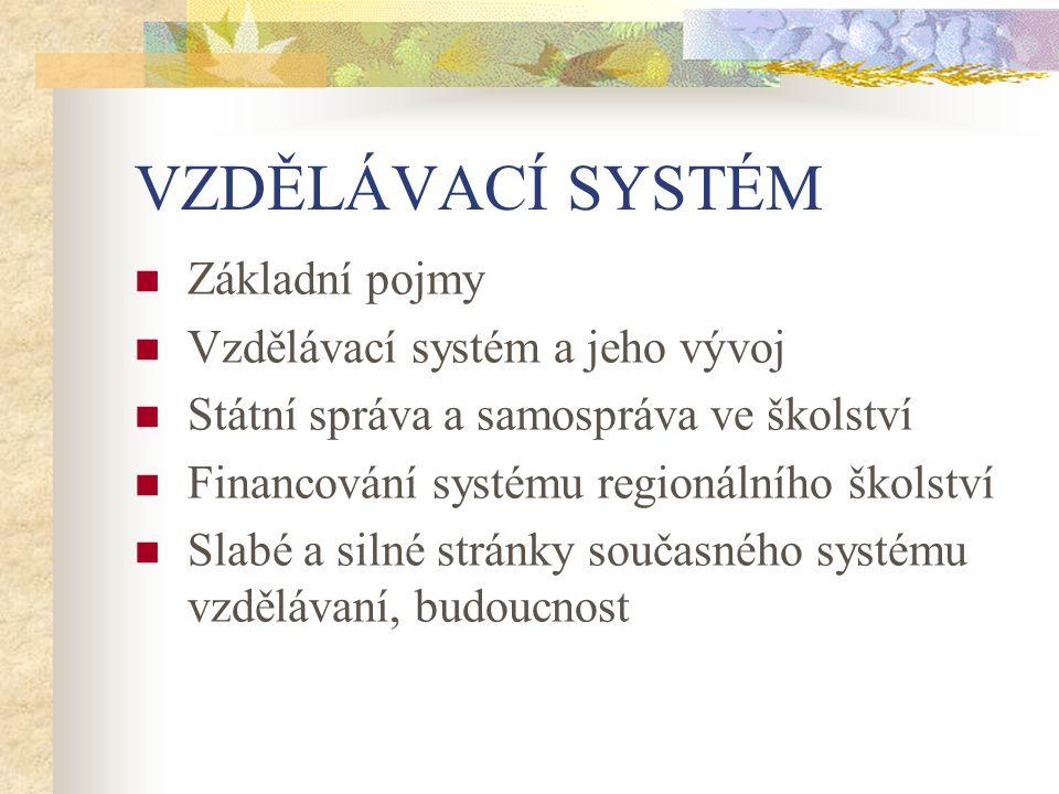 VZDĚLÁVACÍ SYSTÉM Základní pojmy Vzdělávací systém a jeho vývoj Státní správa a samospráva ve školství Financování systému regionálního školství Slabé