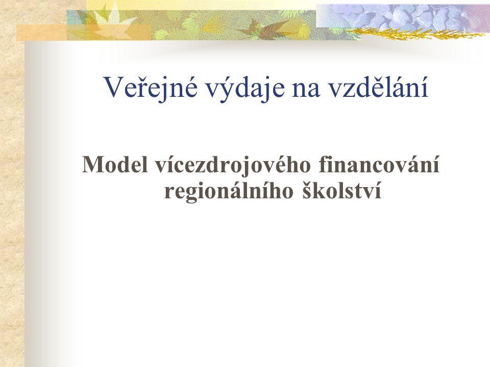 Veřejné výdaje na vzdělání Model vícezdrojového financování regionálního školství