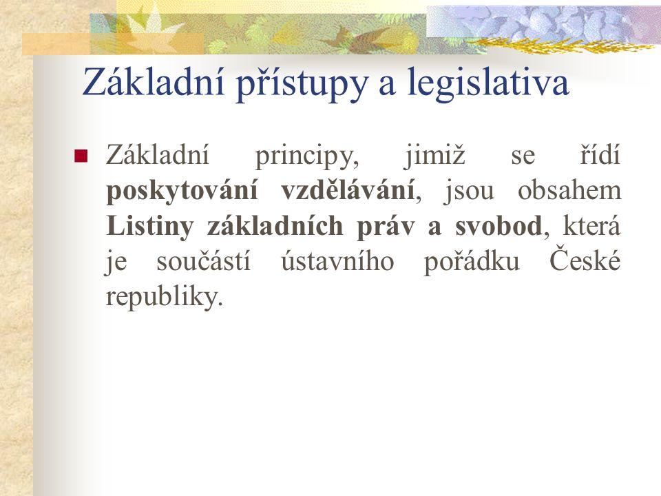 Základní přístupy a legislativa Základní principy, jimiž se řídí poskytování vzdělávání, jsou obsahem Listiny základních práv a svobod, která je součá