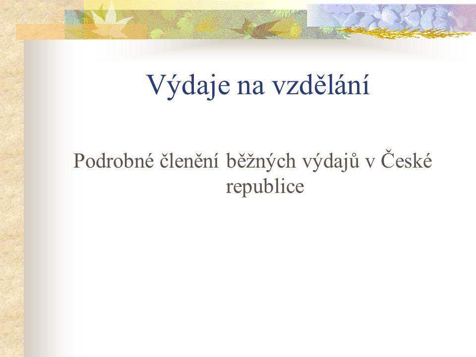 Výdaje na vzdělání Podrobné členění běžných výdajů v České republice