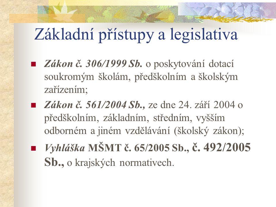 Základní přístupy a legislativa Zákon č. 306/1999 Sb. o poskytování dotací soukromým školám, předškolním a školským zařízením; Zákon č. 561/2004 Sb.,