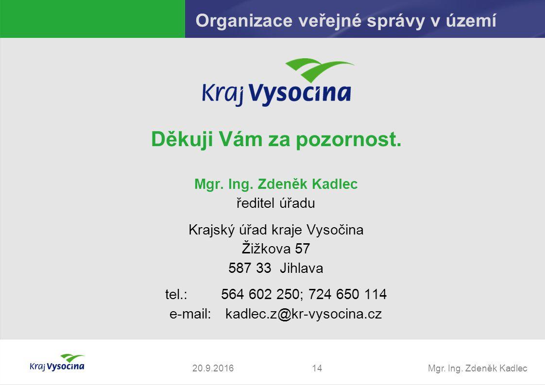 Mgr. Ing. Zdeněk Kadlec Děkuji Vám za pozornost.