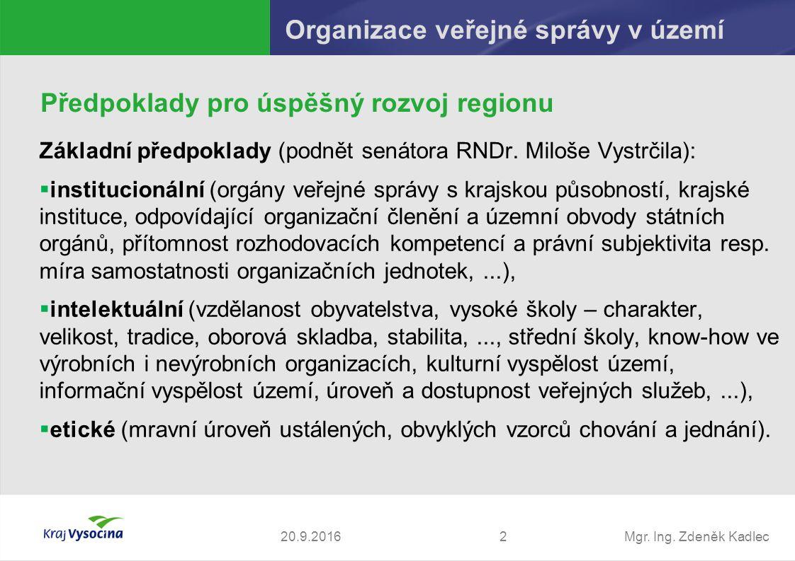 Mgr. Ing. Zdeněk Kadlec Základní předpoklady (podnět senátora RNDr.