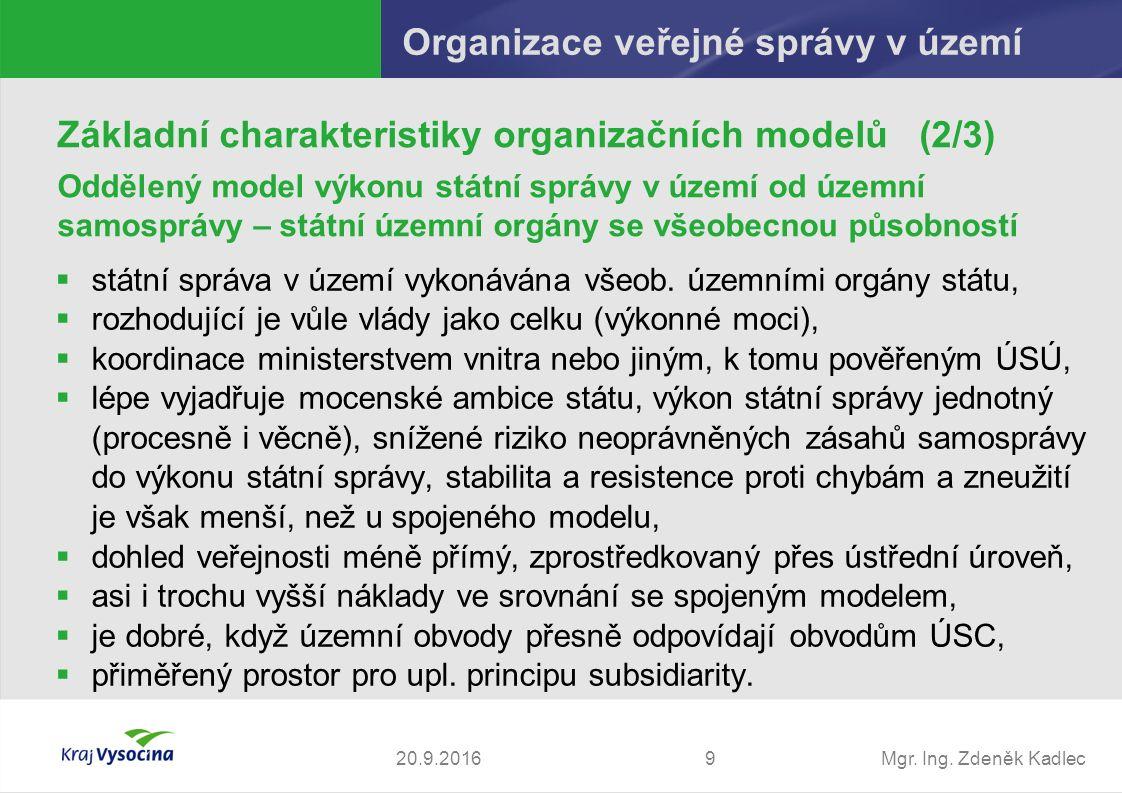 Mgr. Ing. Zdeněk Kadlec  státní správa v území vykonávána všeob.