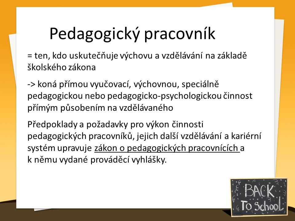 Pedagogický pracovník = ten, kdo uskutečňuje výchovu a vzdělávání na základě školského zákona -> koná přímou vyučovací, výchovnou, speciálně pedagogickou nebo pedagogicko-psychologickou činnost přímým působením na vzdělávaného Předpoklady a požadavky pro výkon činnosti pedagogických pracovníků, jejich další vzdělávání a kariérní systém upravuje zákon o pedagogických pracovnících a k němu vydané prováděcí vyhlášky.