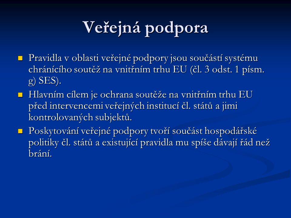 Veřejná podpora Pravidla v oblasti veřejné podpory jsou součástí systému chránícího soutěž na vnitřním trhu EU (čl.