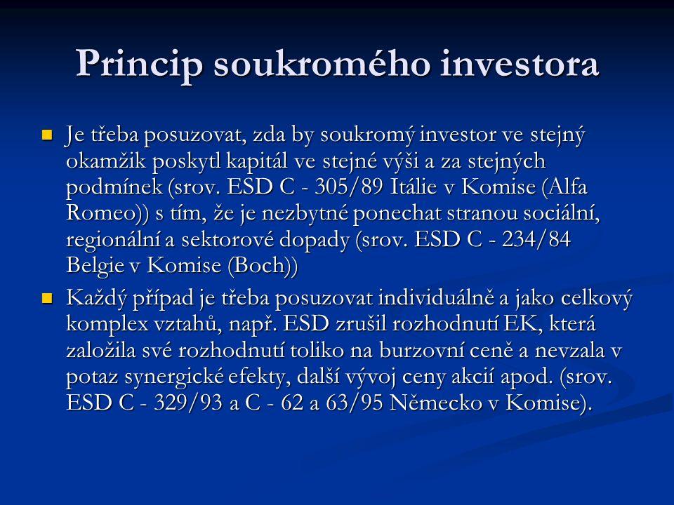 Princip soukromého investora Je třeba posuzovat, zda by soukromý investor ve stejný okamžik poskytl kapitál ve stejné výši a za stejných podmínek (srov.