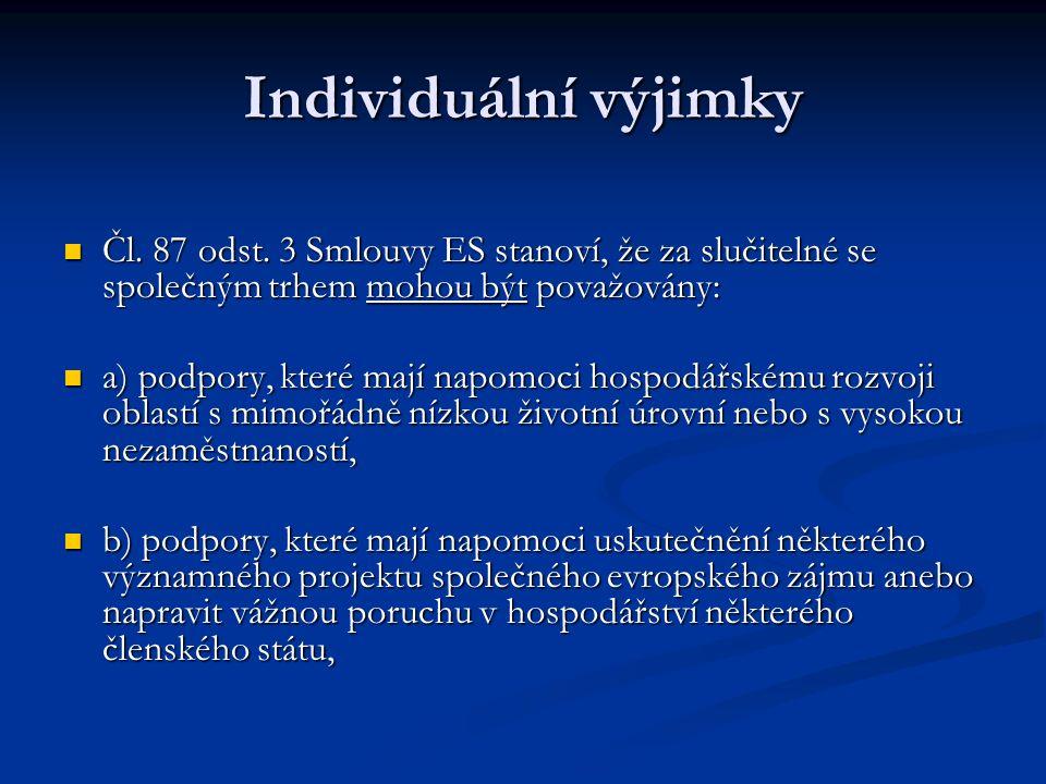 Individuální výjimky Čl. 87 odst.