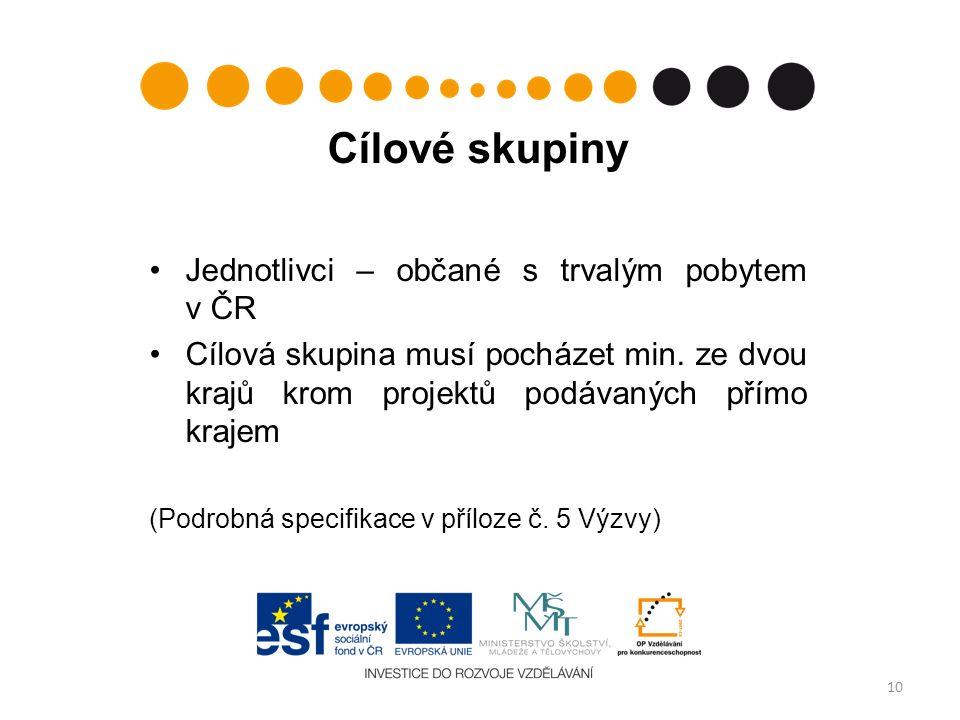 Cílové skupiny Jednotlivci – občané s trvalým pobytem v ČR Cílová skupina musí pocházet min.