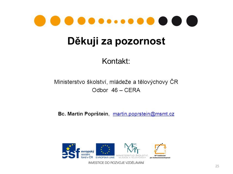 Děkuji za pozornost Kontakt: Ministerstvo školství, mládeže a tělovýchovy ČR Odbor 46 – CERA Bc.