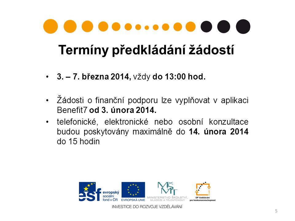 3. – 7. března 2014, vždy do 13:00 hod.