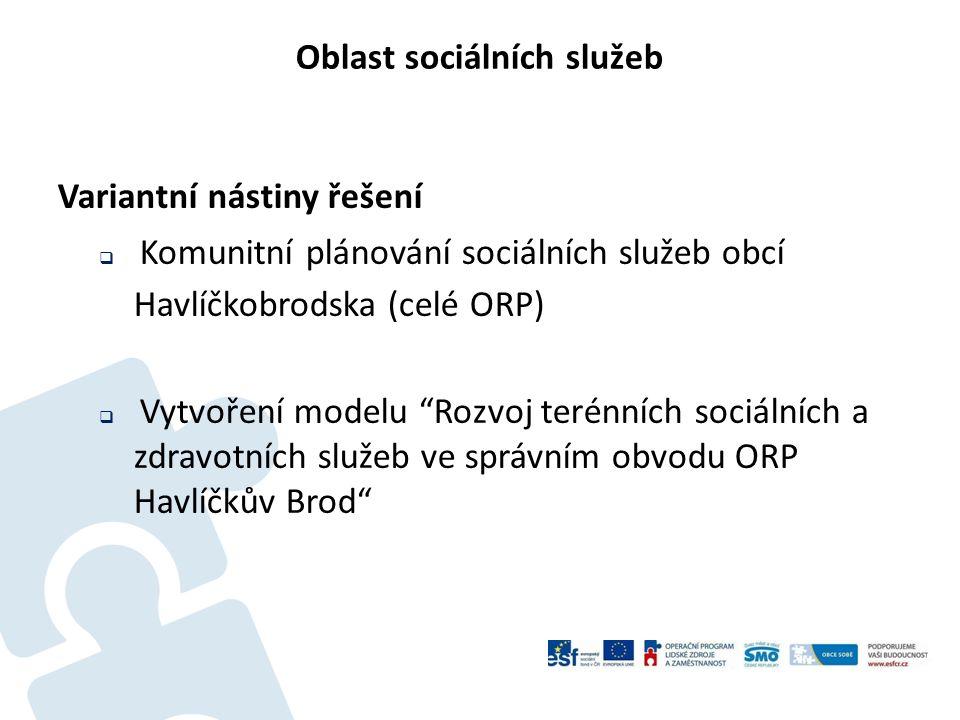 Oblast sociálních služeb Variantní nástiny řešení  Komunitní plánování sociálních služeb obcí Havlíčkobrodska (celé ORP)  Vytvoření modelu Rozvoj terénních sociálních a zdravotních služeb ve správním obvodu ORP Havlíčkův Brod