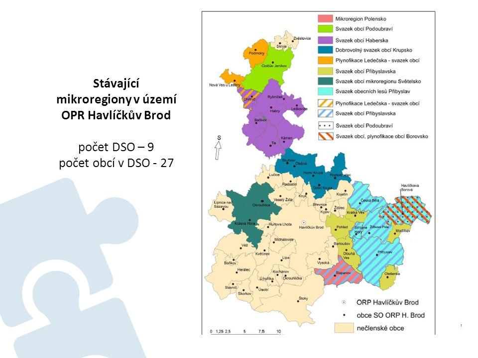 Stávající mikroregiony v území OPR Havlíčkův Brod počet DSO – 9 počet obcí v DSO - 27