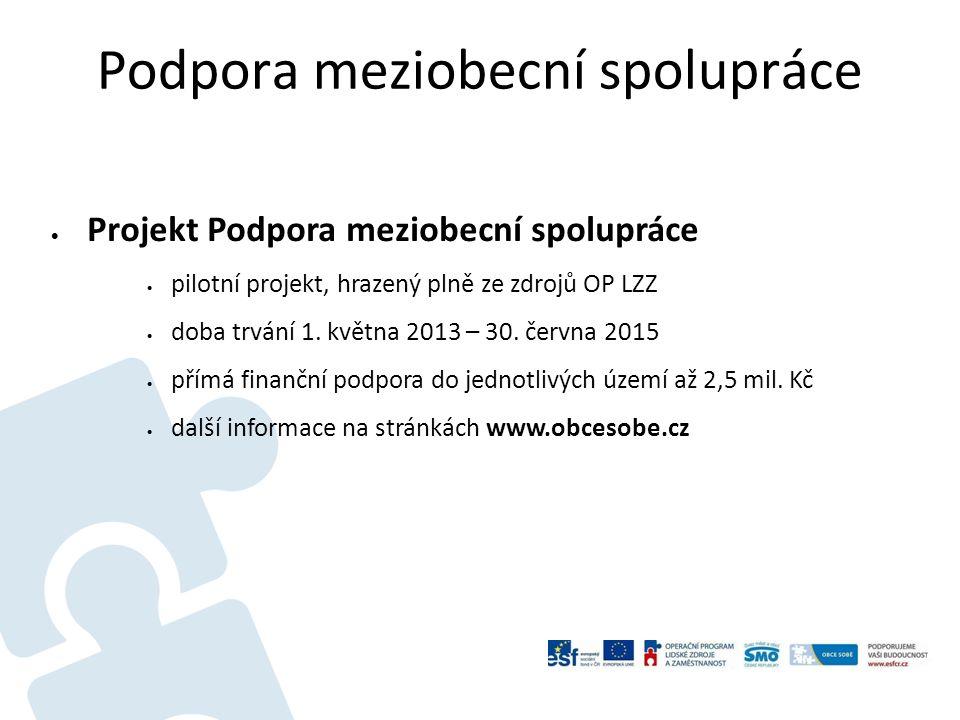 Podpora meziobecní spolupráce  Projekt Podpora meziobecní spolupráce  pilotní projekt, hrazený plně ze zdrojů OP LZZ  doba trvání 1.