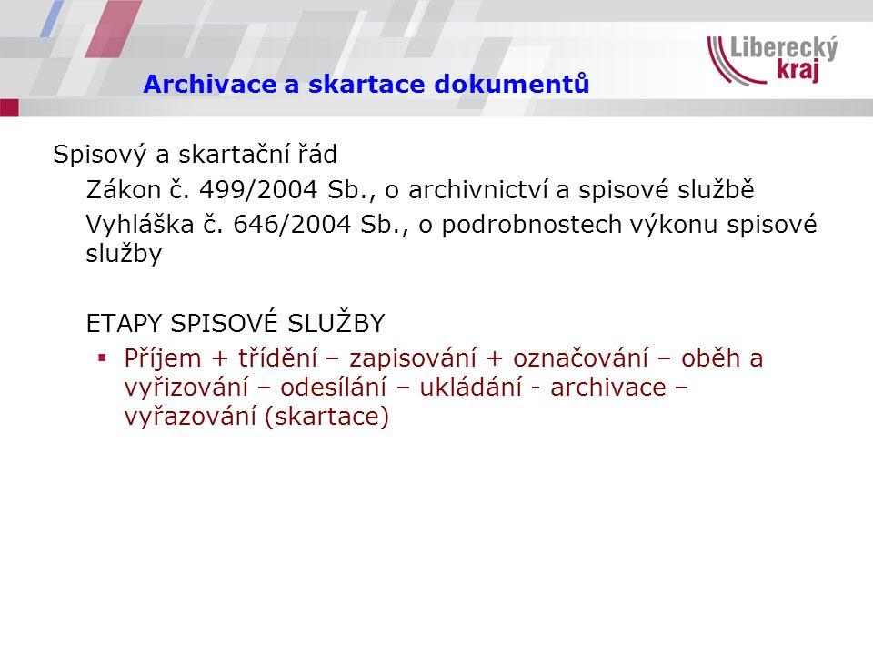 Archivace a skartace dokumentů Spisový a skartační řád Zákon č.