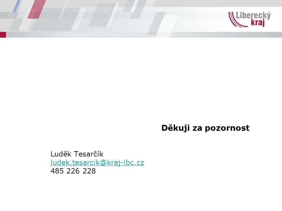 Děkuji za pozornost Luděk Tesarčík ludek.tesarcik@kraj-lbc.cz 485 226 228