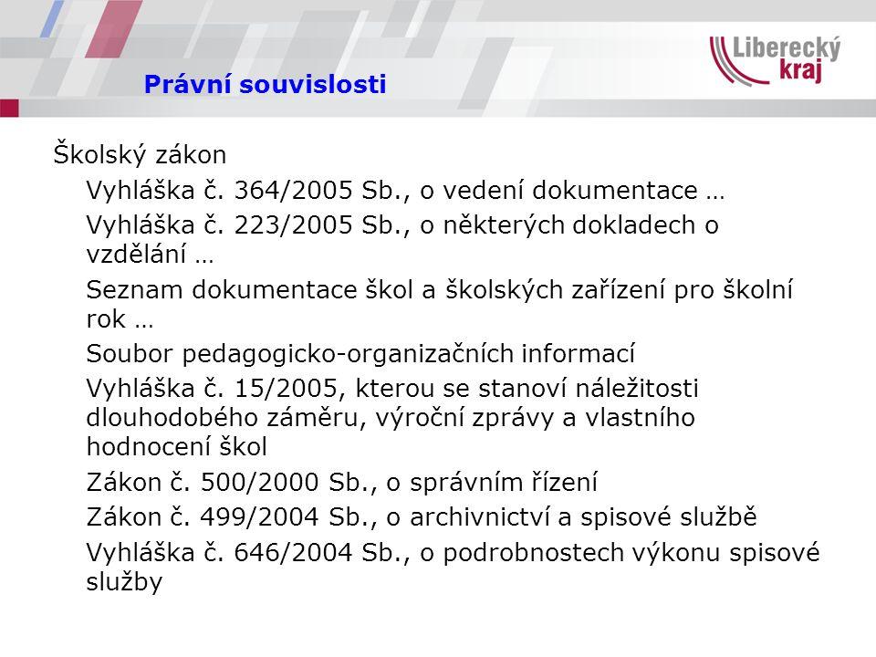 Právní souvislosti Školský zákon Vyhláška č. 364/2005 Sb., o vedení dokumentace … Vyhláška č.