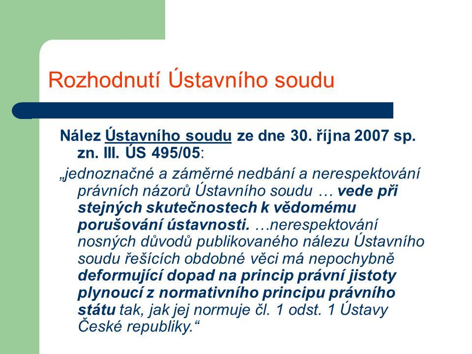 Rozhodnutí Ústavního soudu Nález Ústavního soudu ze dne 30.