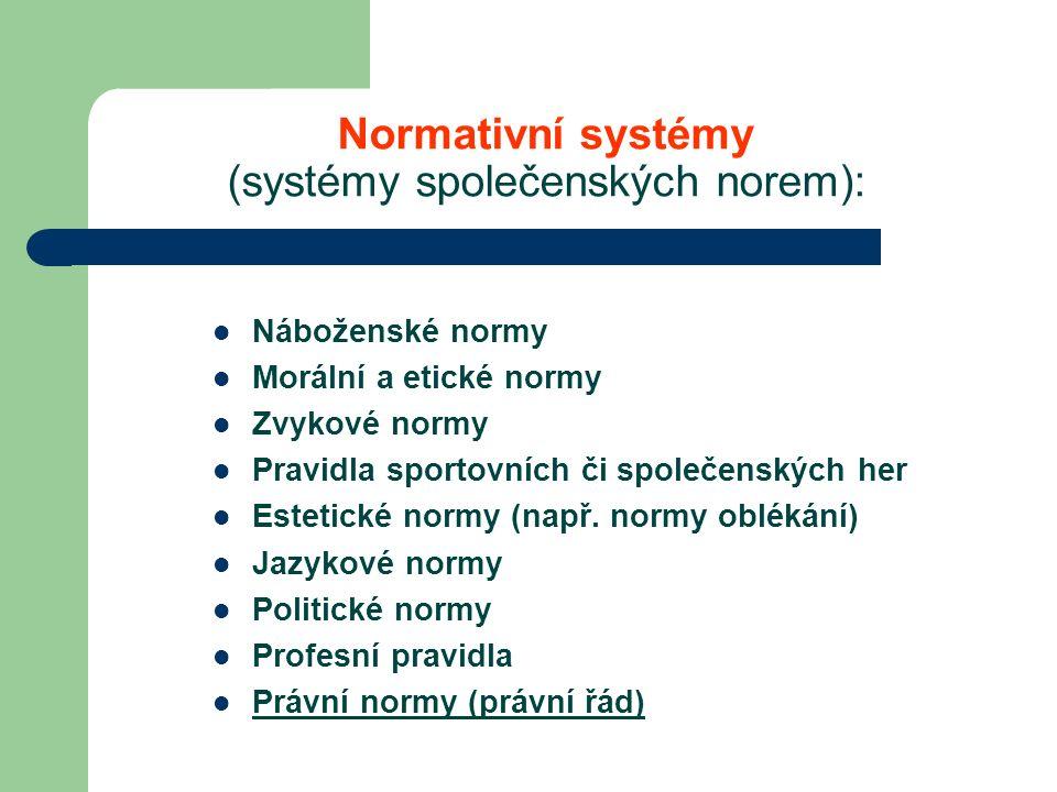 Normativní systémy (systémy společenských norem): Náboženské normy Morální a etické normy Zvykové normy Pravidla sportovních či společenských her Estetické normy (např.