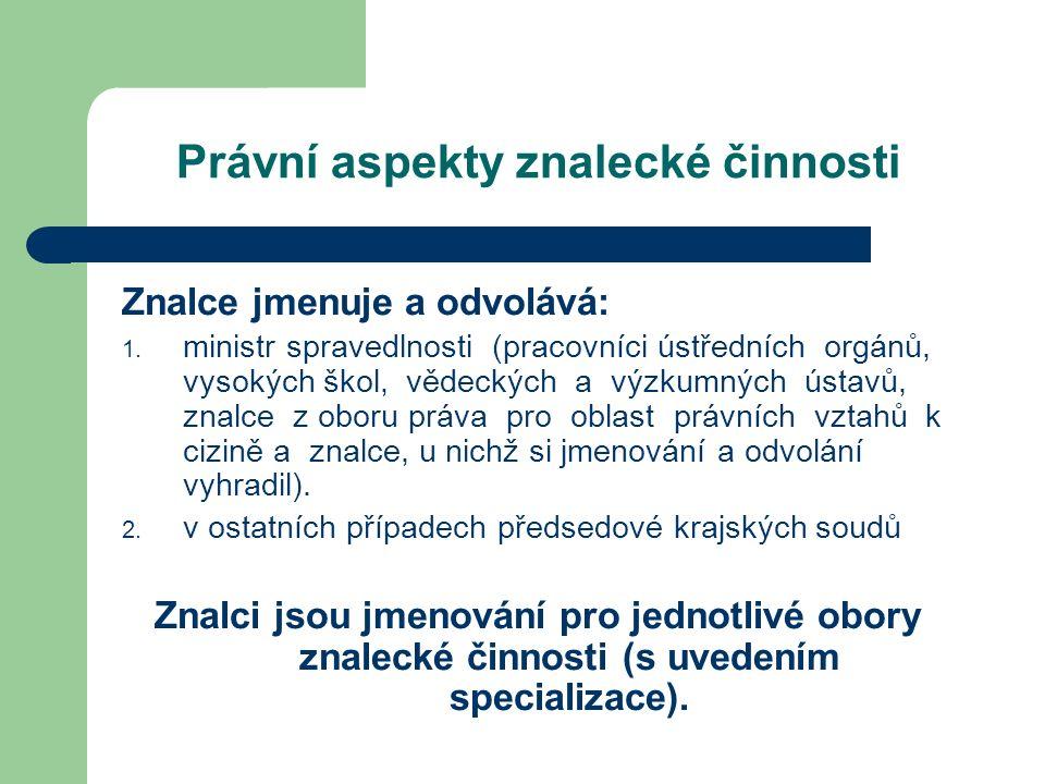 Právní aspekty znalecké činnosti Znalce jmenuje a odvolává: 1.