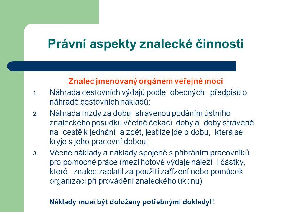 Právní aspekty znalecké činnosti Znalec jmenovaný orgánem veřejné moci 1.