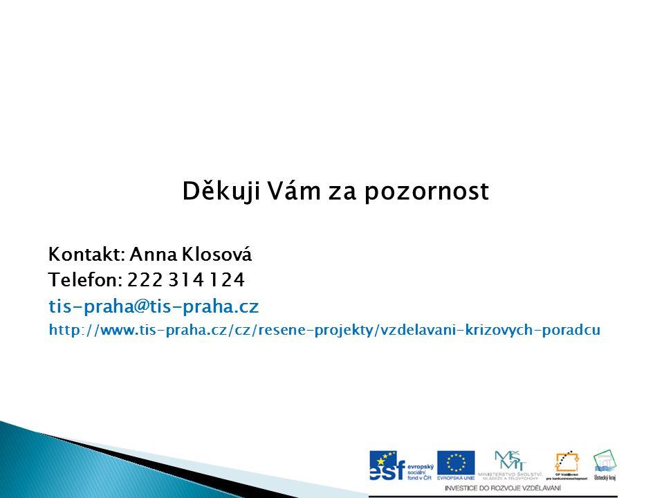Děkuji Vám za pozornost Kontakt: Anna Klosová Telefon: 222 314 124 tis-praha@tis-praha.cz http://www.tis-praha.cz/cz/resene-projekty/vzdelavani-krizov