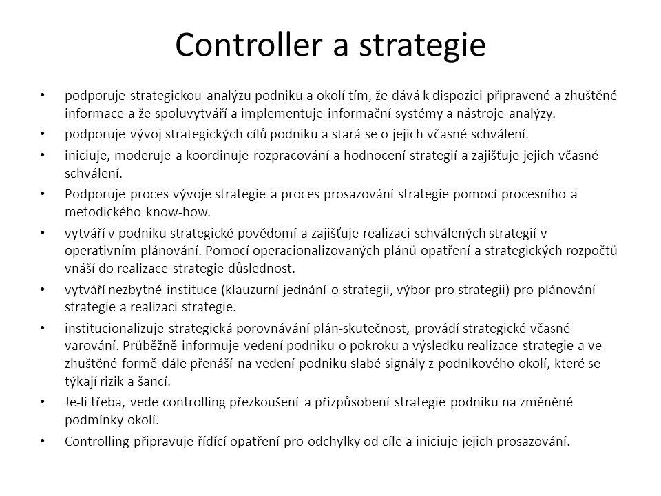 Controller a strategie podporuje strategickou analýzu podniku a okolí tím, že dává k dispozici připravené a zhuštěné informace a že spoluvytváří a implementuje informační systémy a nástroje analýzy.