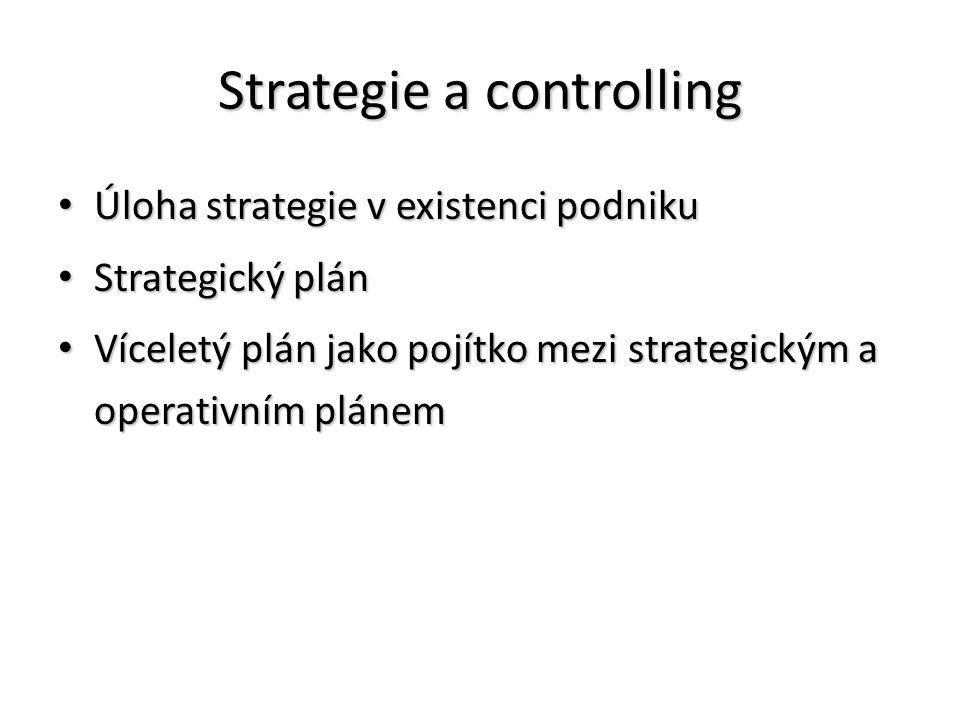 Strategie a controlling Úloha strategie v existenci podniku Úloha strategie v existenci podniku Strategický plán Strategický plán Víceletý plán jako pojítko mezi strategickým a operativním plánem Víceletý plán jako pojítko mezi strategickým a operativním plánem