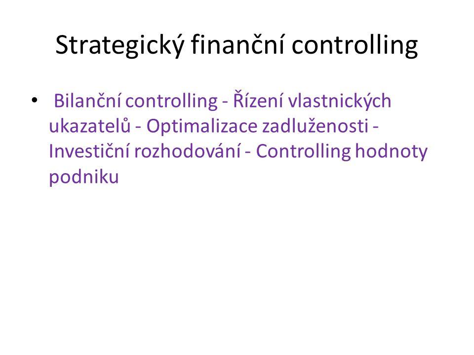 Strategický finanční controlling Bilanční controlling - Řízení vlastnických ukazatelů - Optimalizace zadluženosti - Investiční rozhodování - Controlling hodnoty podniku
