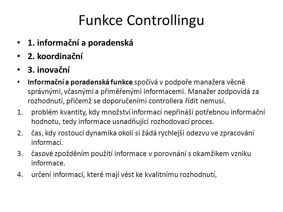 Funkce Controllingu 1. informační a poradenská 2.