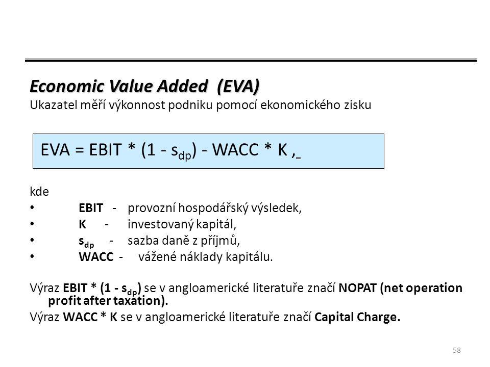 58 Economic Value Added (EVA) Ukazatel měří výkonnost podniku pomocí ekonomického zisku kde EBIT -provozní hospodářský výsledek, K -investovaný kapitál, s dp -sazba daně z příjmů, WACC - vážené náklady kapitálu.