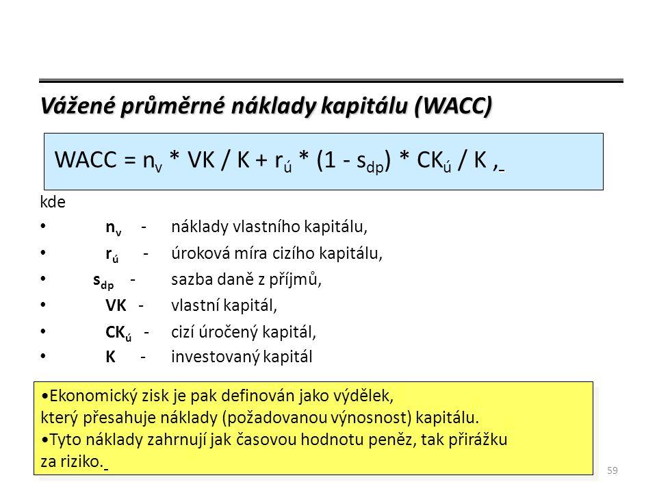 59 Vážené průměrné náklady kapitálu (WACC) kde n v -náklady vlastního kapitálu, r ú -úroková míra cizího kapitálu, s dp -sazba daně z příjmů, VK -vlastní kapitál, CK ú -cizí úročený kapitál, K - investovaný kapitál WACC = n v * VK / K + r ú * (1 - s dp ) * CK ú / K, Ekonomický zisk je pak definován jako výdělek, který přesahuje náklady (požadovanou výnosnost) kapitálu.