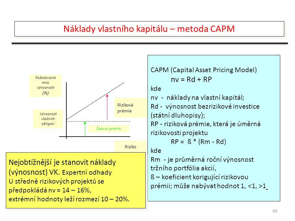 60 Požadovaná míra výnosnosti (%) Výnosnost vládních obligací Riziko Časová prémie Riziková prémie CAPM (Capital Asset Pricing Model) nv = Rd + RP kde nv - náklady na vlastní kapitál; Rd - výnosnost bezrizikové investice (státní dluhopisy); RP - riziková prémie, která je úměrná rizikovosti projektu RP = ß * (Rm - Rd) kde Rm - je průměrná roční výnosnost tržního portfólia akcií, ß – koeficient korigující rizikovou prémii; může nabývat hodnot 1, 1 Nejobtížnější je stanovit náklady (výnosnost) VK.