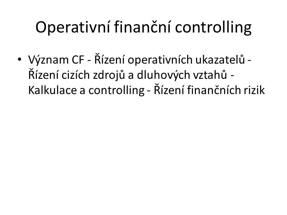 Operativní finanční controlling Význam CF - Řízení operativních ukazatelů - Řízení cizích zdrojů a dluhových vztahů - Kalkulace a controlling - Řízení finančních rizik