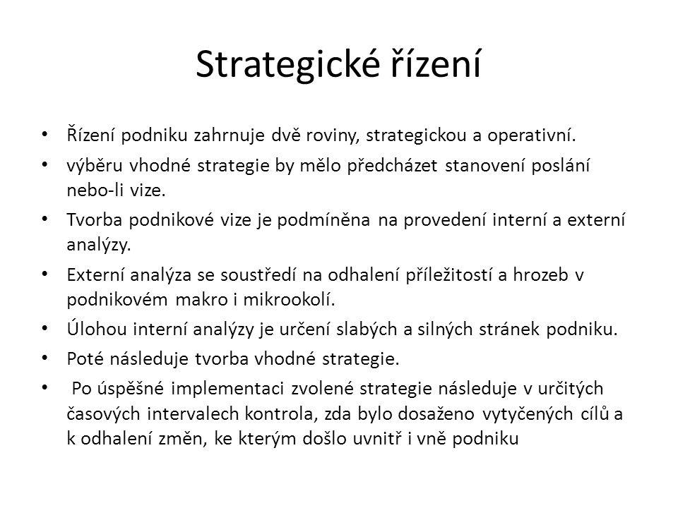 Strategické řízení Řízení podniku zahrnuje dvě roviny, strategickou a operativní.
