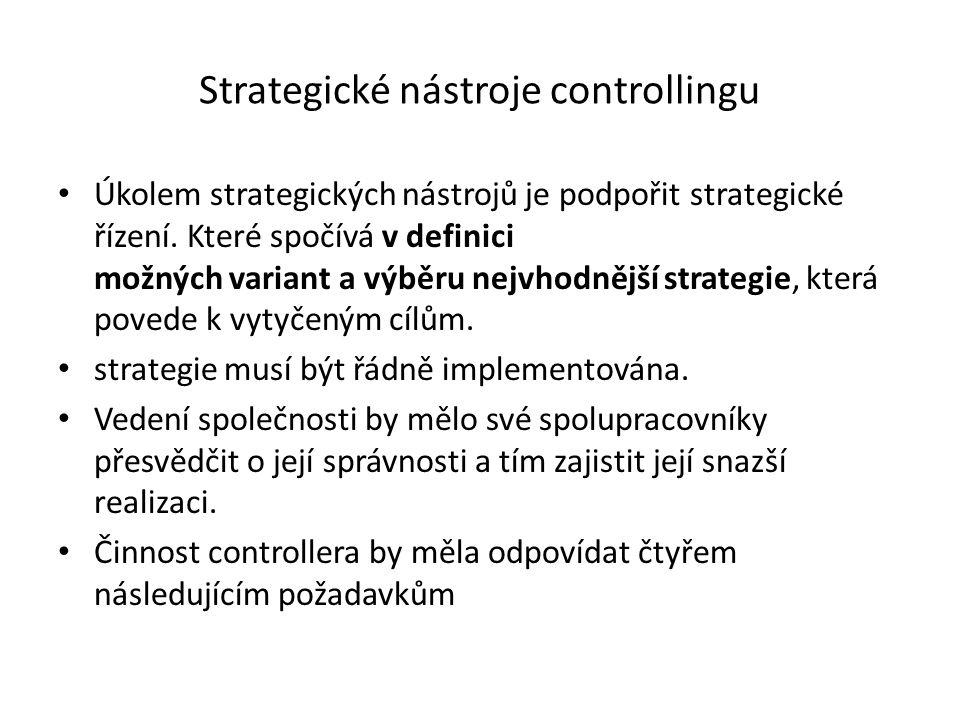 Strategické nástroje controllingu Úkolem strategických nástrojů je podpořit strategické řízení.